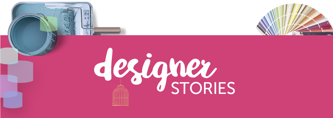 mobile image of designer stories text over a pink ribbon