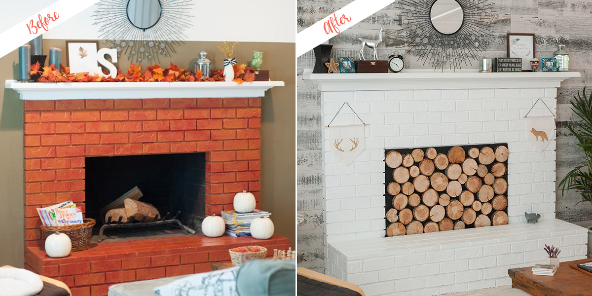 Fireplace, before and after