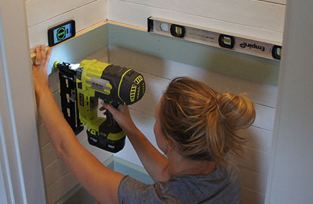 Install the levelled shelf supports with a nail gun