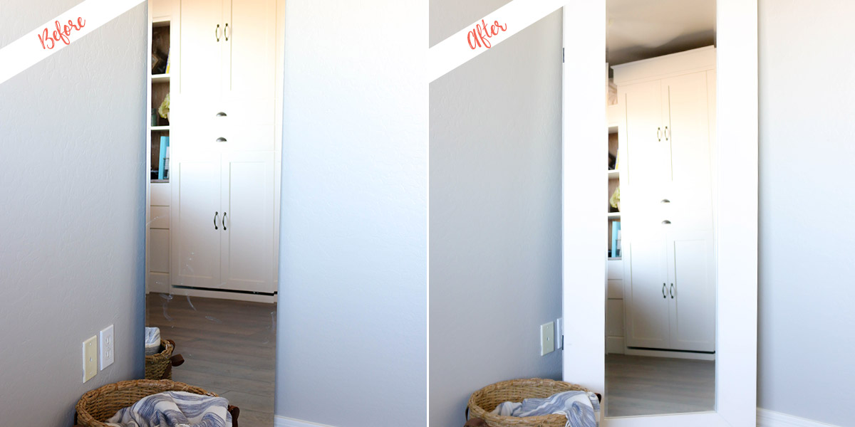 Full Length Mirror with Storage, before and after