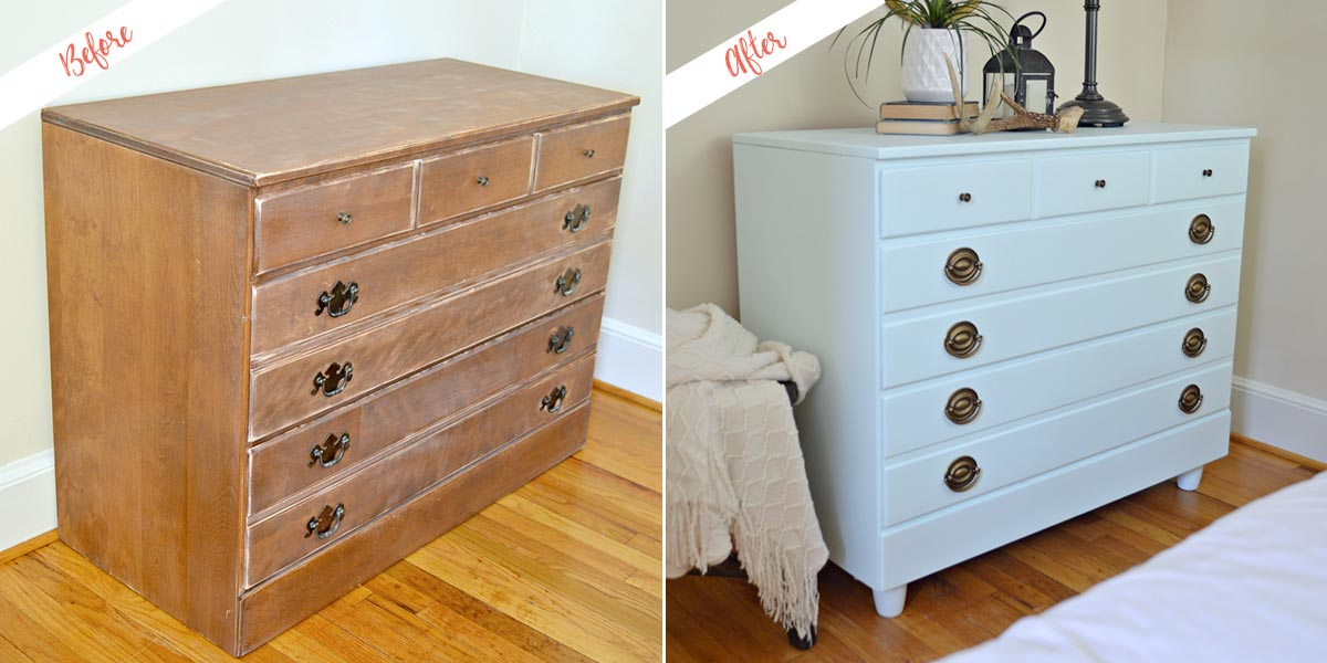 Refinished Dresser, before and after