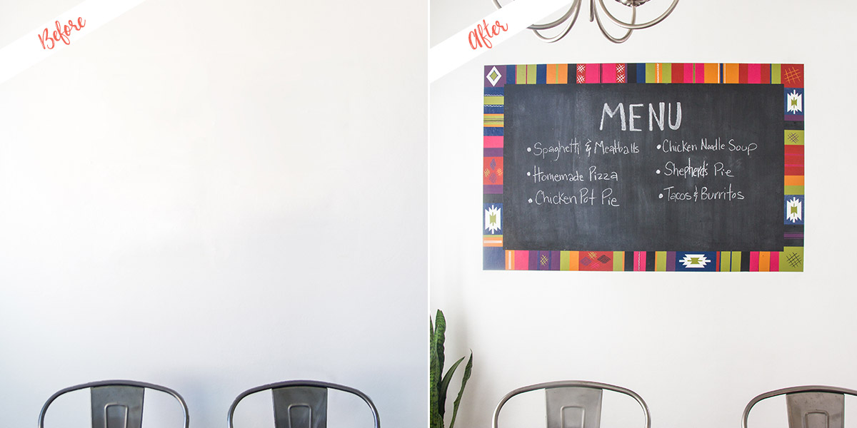 Turkish Rug Inspired Chalkboard project, before and after