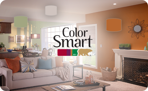 ColorSmart logo placed over a living room image with orange and green walls and colorful accessories with matching color swatches