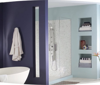 A bathroom with a windowed shower and porcelain bathtub