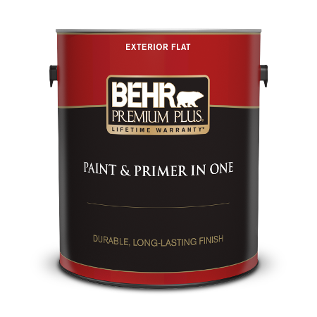 Can of Behr paint and primer in one exterior flat