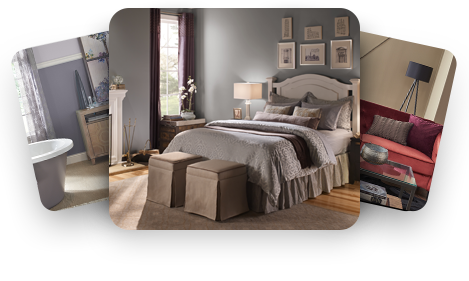 Promotional image represent the Behr photo gallery, shows photos of various room images, bedroom is the prominent image.